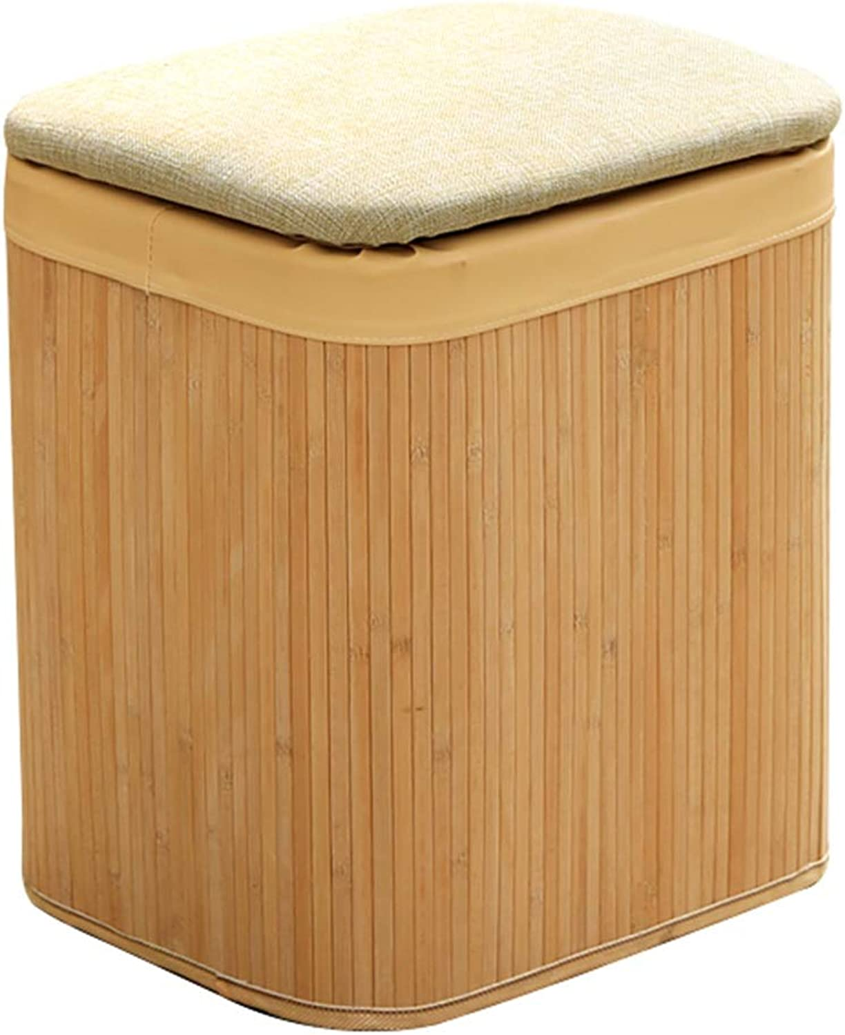 Storage Stool Bamboo Wood Sofa Stool Fashion Home Multi-Function shoes Bench Solid color Simple WEIYV (color   Beige, Size   40  34  45cm)
