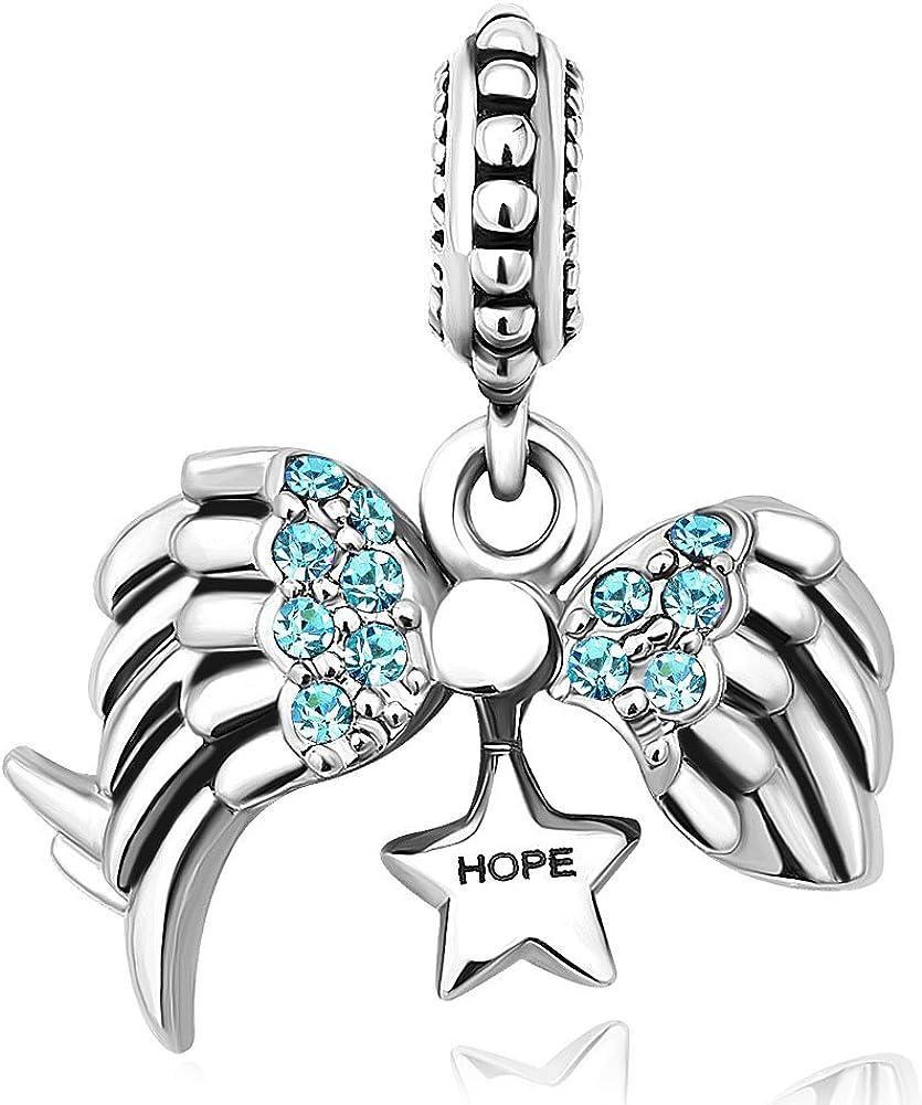 CharmSStory Angel Wings Open Heart Hope Dangle Charm Bead for European Bracelets