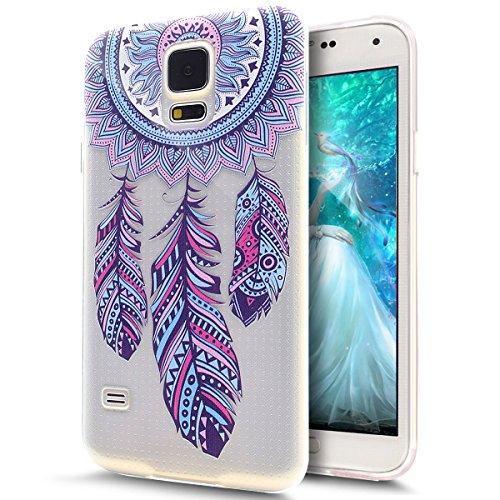 ikasus Cover Galaxy S5 Mini,Custodia Galaxy S5 Mini, Disegno colorato con Ragazza Farfalla Cover Silicone Case Molle TPU Trasparente Sottile Case Custodia Cover per Galaxy S5 Mini,Mulino a Vento