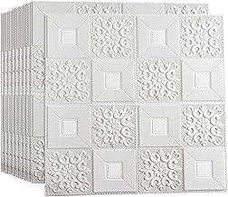 DSJMUY Muurstickers 70x70cm 3D wit baksteen behang, 3D wandpanelen Behang Baksteen Muursticker Zelfklevend Waterdicht Wand...