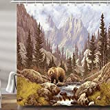Rustic Brown Bear Shower Curtain for Bathroom, Country Cabin Lodge Mountain Forest Animals Men Fabric Shower Curtains Set, Camper Bathroom Accessories Decor, Hooks Included 69X70 Inches