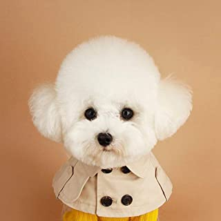Cheeseand Burberry Dog Collar Cute British Style Fake Dog Bandana with Buttons Adjustable Cotton Dog Trench Coat Cloak Costume for Small Medium Dogs Cat Halloween Party Photo Props