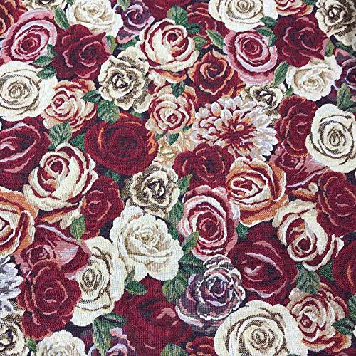 Kt KILOtela Tela de tapicería - Jacquard Gobelino - Retal de 100 cm Largo x 280 cm Ancho   Rosas - Rojo, Granate, Rosa, Beige, Verde ─ 1 Metro