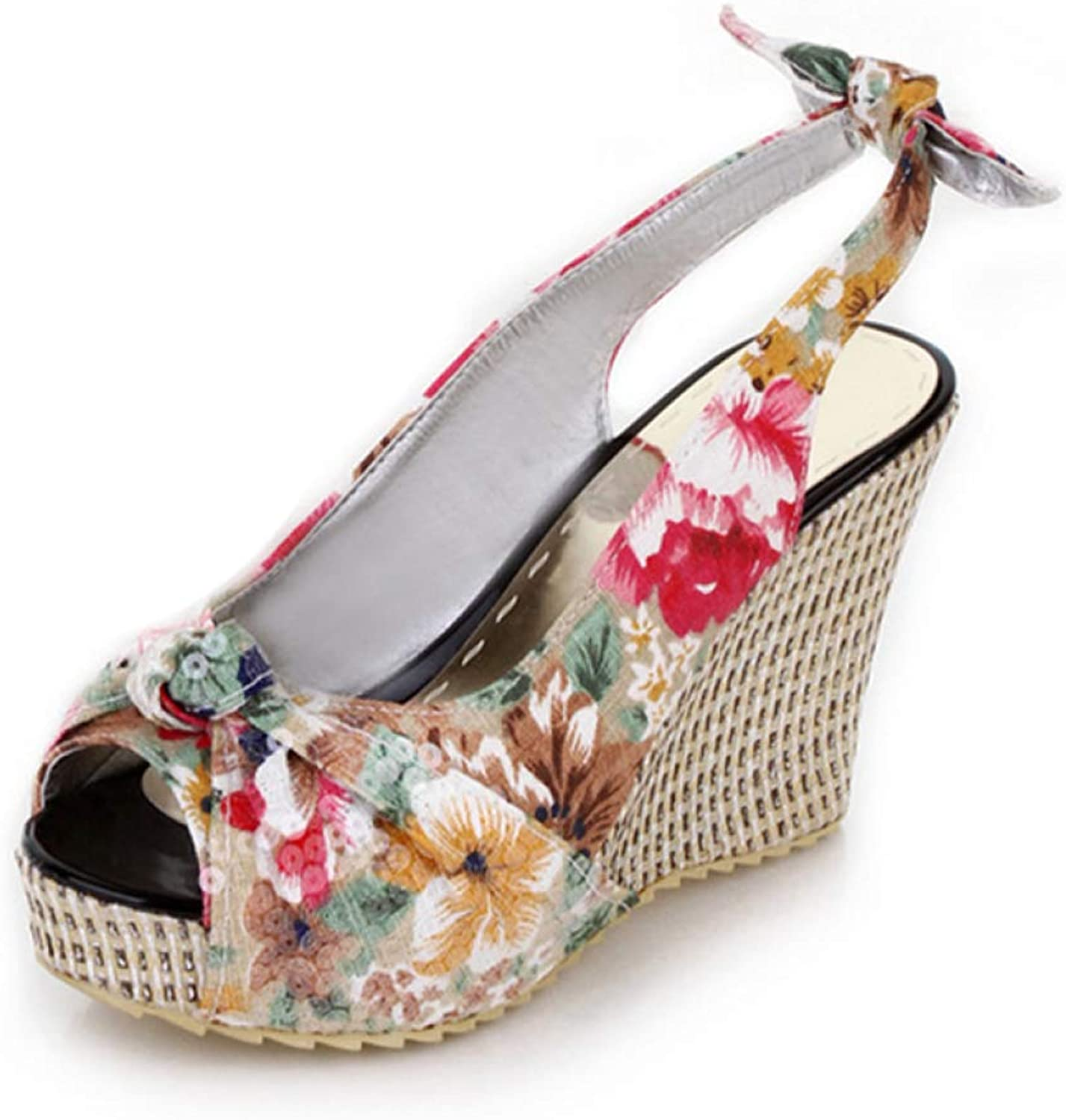 T-JULY Women Floral Printed Wedge Sandal Woman High Heels Platform Peep-Toe Beach Shallow Slingback shoes with Back Bowknot