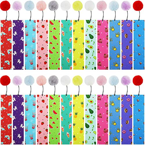 Spakon 24 Pieces Bookmarks Cute Bookmarks with Pom Book Markers for Students Kids Adults Reading Present Party Favors, 12 Designs