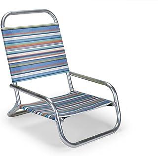 Telescope Casual Original Mini-Sun Chaise Folding Beach Arm Chair, Atlantic Blue Stripe