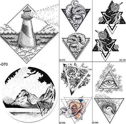 yyyDL tatuajes temporales Rhombus Faro Tatuajes Temporales Pegatinas Hombres Pequeño Valle Falso Tatuaje Mujeres Cuerpo Brazo Arte Impermeable Tatoos Suministros 10.5 * 6 cm 6 unids