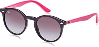 Ray-Ban Kids' Injected Unisex Sunglass Round, Violet 44 mm