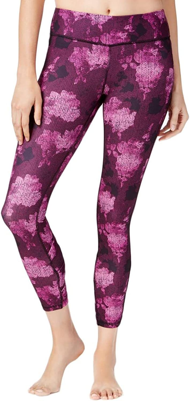 Gaiam Womens Printed Cropped Athletic Leggings Purple M