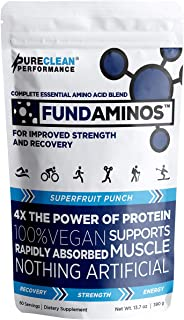 FUNDAMINOS - Great-Tasting Essential Amino Acid Powder + BCAA Blend, Organic, Plant-Based Physician Formula...