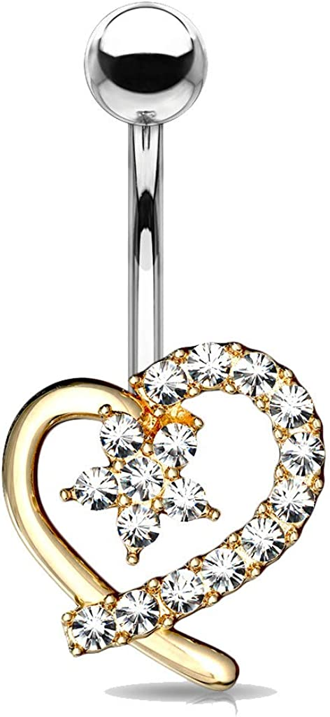 MoBody 14G Mico CZ Paved Hollow Heart with CZ Flower Center Belly Button Ring Surgical Steel Curved Navel Body Piercing Jewelry