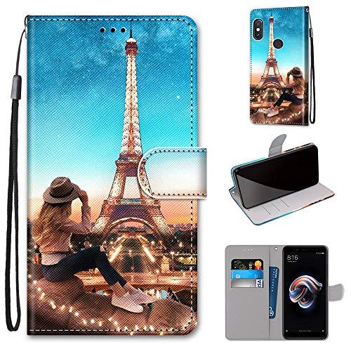 Miagon Flip PU Leder Schutzhülle für Xiaomi Redmi Note 5 Pro,Bunt Muster Hülle Brieftasche Case Cover Ständer mit Kartenfächer Trageschlaufe,Turm Mädchen