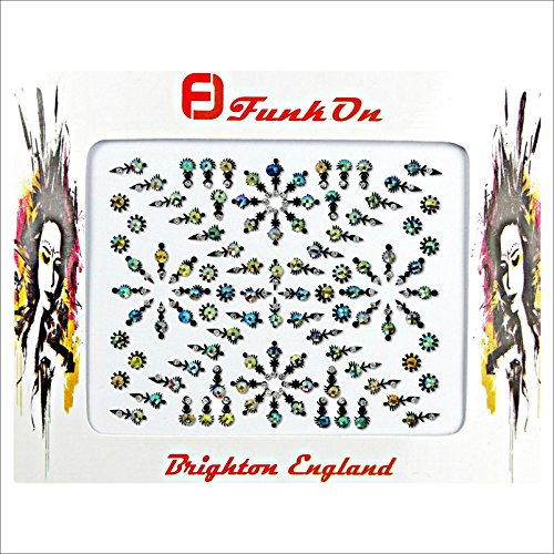 FunkOn® Silver Bollywood Bindi Stickers Indian Face Gems for Festivals Costume Bindis Huge Multipack Diamond Tikka Forehead Makeup Face Tattoos Glitter Accessories Body Crystal JewelsNB21