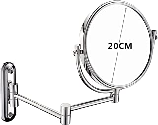 Wall-Mounted Double-Sided Make-up Mirror Bathroom Folding Telescopic Beauty Mirror 3 Times Magnifying Glass Fine Copper Material 360 Rotation Without Punching