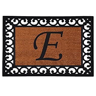 Home & More 180041925E Inserted Doormat, 19  X 25  x 0.60 , Monogrammed Letter E, Natural/Black
