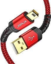 JSAUX Cable Mini USB [1M 2M,2PC] Duradero Cable Tipo B Mini Macho Compatible con teléfonos móviles Smartphones Tabletas GoPro Negro Canon Nikon Disco Duro Reproductor de MP3-Rojo