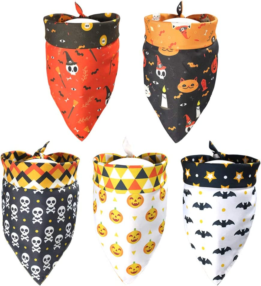 Challenge the lowest price 5 Pack Halloween Dog Oakland Mall Bandanas 10 Both on Sides Patterns Triangl