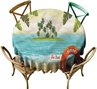 KaMiao Wrinkle Free Tablecloths Ocean,Coconut Palm in Sea Summer Diameter 70