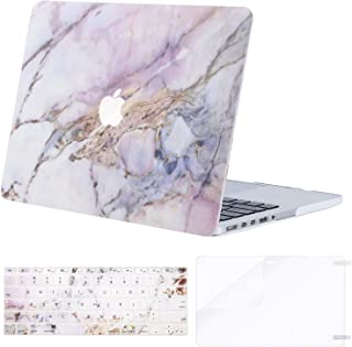 MOSISO Case Only Compatible with Older Version MacBook Pro Retina 13 inch (Model: A1502 & A1425)(Release 2015-end 2012),Plastic Pattern Hard Shell&Keyboard Cover&Screen Protector, Colorful Marble