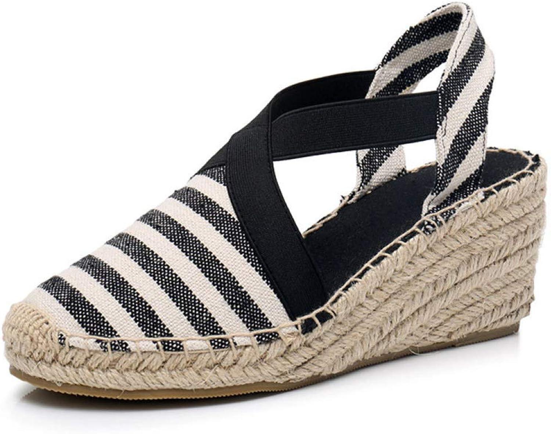 T-JULY Women Espadrilles Wedge Sandals Summer Canvas Platform Wedges Fashion Slip On Ankle Strap Stripe High Heel shoes