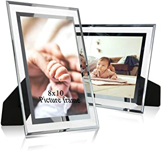 LUCKYLIFE 8x10 Glass Picture Frames, 2 Packs, Silver Mirrored Frames 8x10 for Tabletop Display