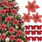 (48 Pcs)24 Piezas Flores Artificiales de Navidad con Purpurina Flores Artificiales Brillo Navideñas para Arbol de Navidad 24 Lazos de Navidad Rojo Ornamentos Decoracíon Adornos Navidad Guirnaldas