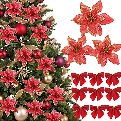 (48 Pcs)24 Piezas Flores Artificiales de Navidad con Purpuri