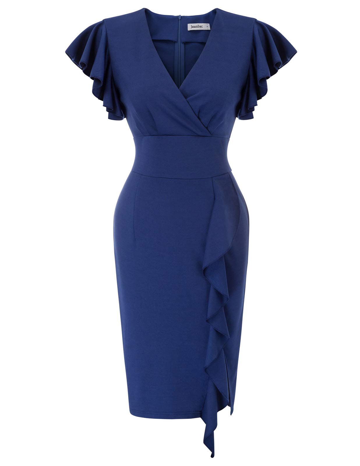 Available at Amazon: JASAMBAC Women's Deep-V Neck Ruffle Sleeves Cocktail Party Slit Pencil Dress