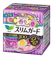 花王 ロリエ スリムガード スイートローズの香り しっかり夜用 羽つき 30cm 14個入 × 3個セット