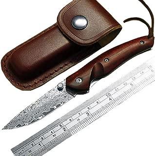 Ideaselection Hecha a Mano Damasco Cuchillo Colección navajas de Bolsillo Cuchillo al Aire Libre Cuchillo de Hoja Plegable Cuchillo de Hoja Fija Cuchillo de Caza Damascus Funda de Cuero