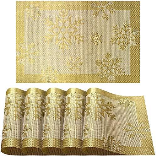 6er Platzdeckchen,Eageroo Rutschfest Abwaschbar Tischsets aus PVC Abgrifffeste Hitzebeständig Tischsets weihnachten Schmutzabweisend,Gold