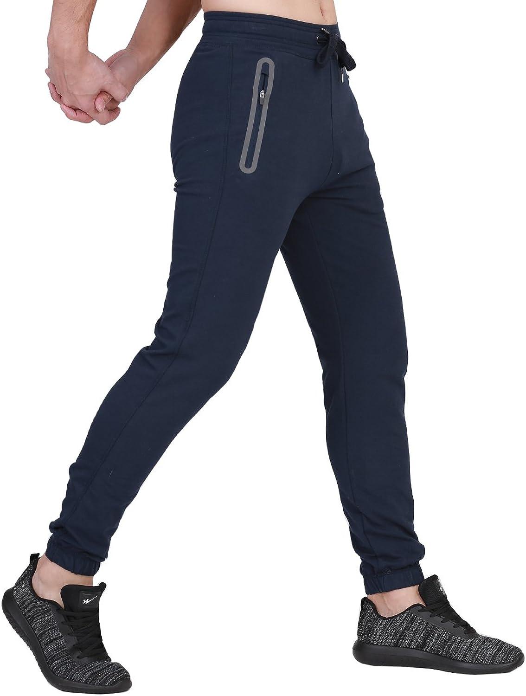 BONWAY Men's Jogger Pants Sweatpants Active Pants Slim Fit Trousers with Zipper Pockets