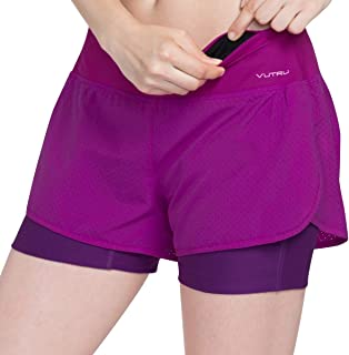 VUTRU Women's Running Workout Shorts with Liner 2 in 1 Athletic Sport Shorts
