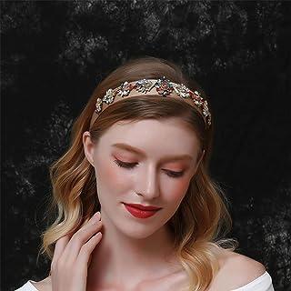 Aimimier Baroque Bridal Crystal Headband Vintage Colorful Gemstone Crown Luxury Rhinestone Wide Hair Hoop for Women and Girls