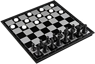 Folding Plastic Chess Set, Traditional Games for Adults Kids Beginners - 36 x 37cm Foldable Board
