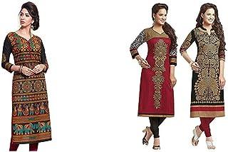 Jevi Prints Women's Dress Material (Pack of 2)(Saheli-1632&Saheli_1204_1225_Item 1 Color Black|Item 2 Color Black_Free Size)
