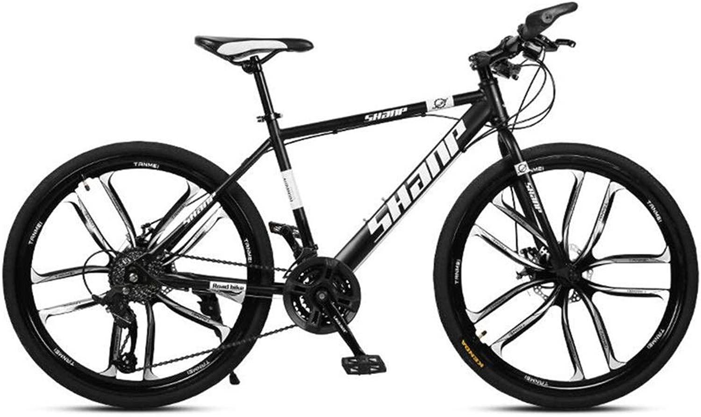 シティマウンテンバイク、26インチホイールオフロード可変速自転車炭素鋼フレーム (Color : 黒, Size : 30 speed)