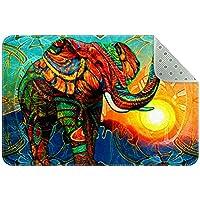 エリアラグ軽量 象の夕日の油絵 フロアマットソフトカーペットチホームリビングダイニングルームベッドルーム