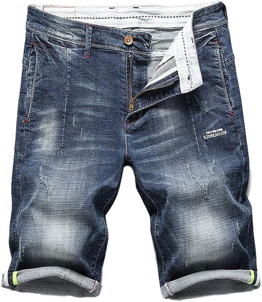 Miwaimao Summer New Men's Jeans Fashion Casual Short Stretch of Cotton Stretch Denim Shorts