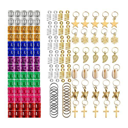 Sharplace 140 Pcs Hair Jewelry Rings Aluminum Hair Accessories Dreadlocks Metal Hair Cuffs Decorations Pendants for Twist Crochet Braiding Hair
