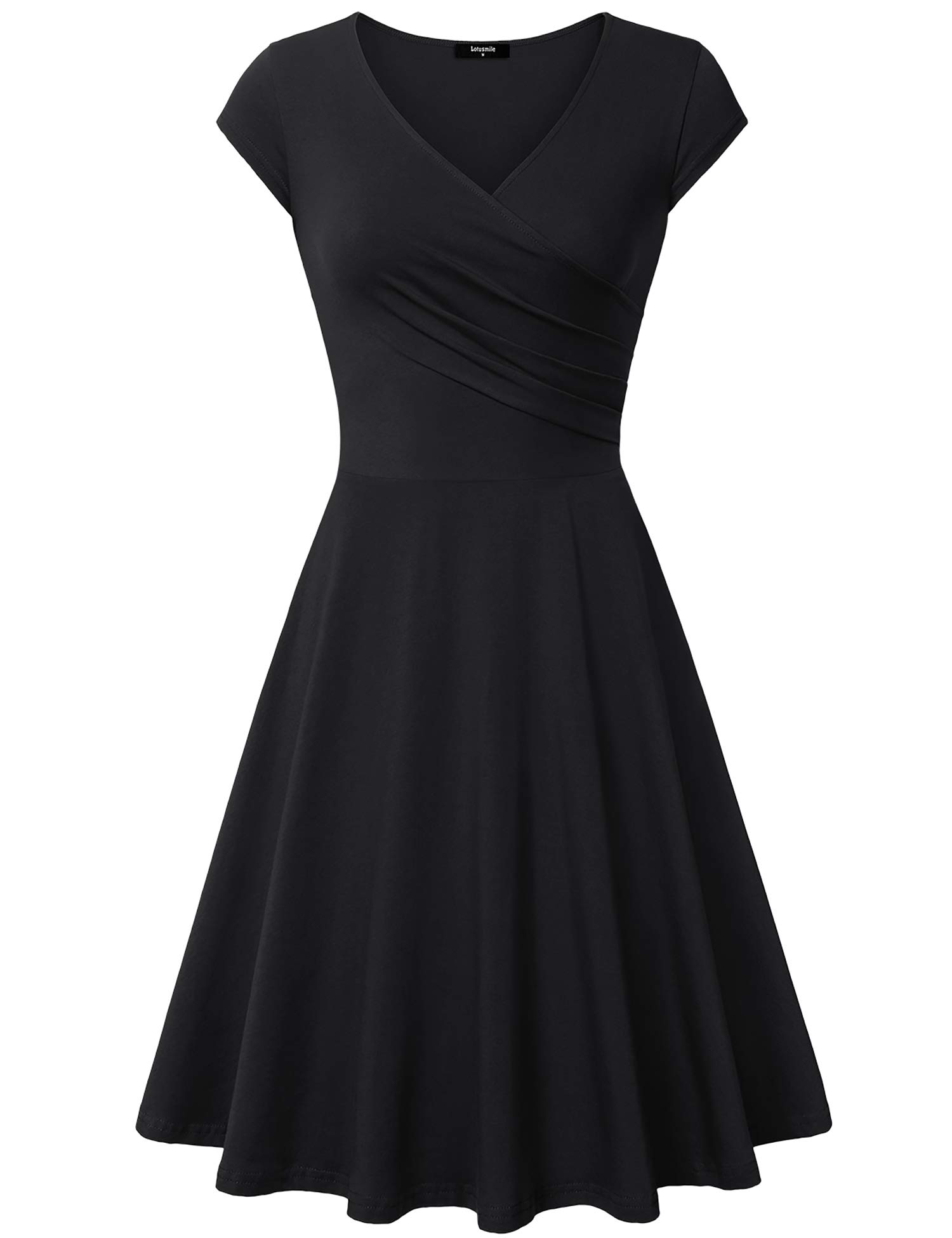 Available at Amazon: Lotusmile Casual DressWomen's Elegant Dress A Line Cap Sleeve V Neck