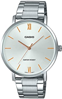 MTP-VT01D-7B Men's Stainless Steel Minimalistic Silver Dial 3-Hand Analog Watch