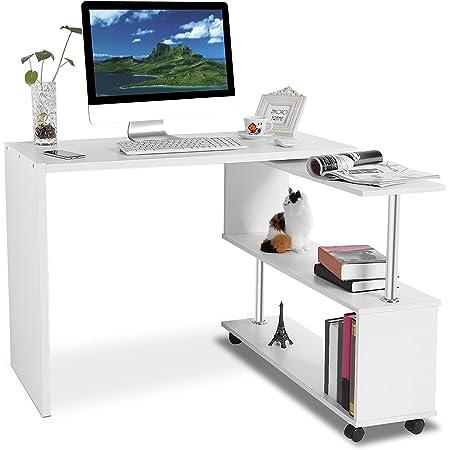 360 grados de giro, forma de L, esquina, escritorio, esquina, ordenador de escritorio con estanterías, mesa de ordenador, ordenador portátil, ...