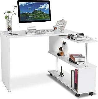 Bureau en forme de L - Rotation à 360 degrés - Angle réglable - Bureau de rangement pour ordinateur portable - Blanc