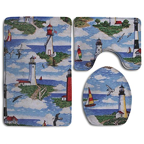 Huadduo Lighthouses Scene Big Sable 3 Piece Bathroom Rug Mat Set Soft Memory Foam Bath Carpet Contour Rug With Lid Cover