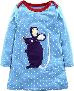 OCHENTA Baby Girl Long Sleeve Striped A-line Casual Dresses Applique Cartoon