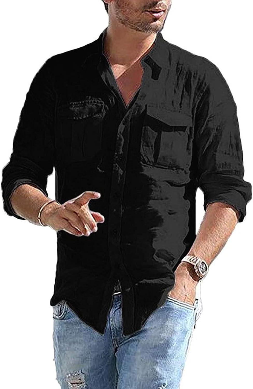 LIEIKIC Men's Linen Shirts Cotton Button Down Long Sleeve Solid Casual Shirt