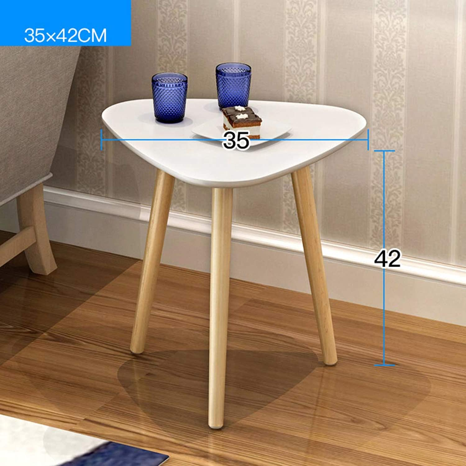 End Table,Side Table 2 Shelf Round Bedside Stand Coffee Table with Natural Wooden Legs and MDF top-G 35x42cm(14x17inch)
