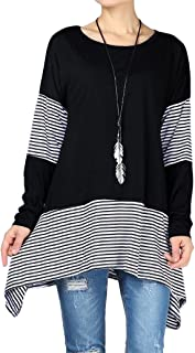 Mordenmiss Women's Stripes Asymmetry Tunic Swing Flowy Plain T-Shirt Top