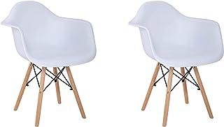 Pack 2 sillas, Silla Comedor sillón Silla Estilo nórdico, Apta para salón, Comedor, Cocina, etc. (2er Blanco)